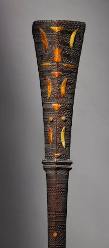Tongan war club with marine ivory inlay